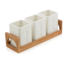 Porcelain 3 Cutlery Caddy On Bamboo Wood Tray