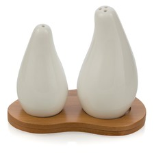 Porcelain Salt And Pepper Set On Bamboo Wooden Tray