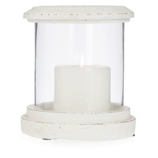 Glass Round Candleholder with Cement Base And Rim