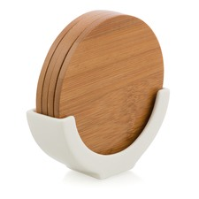 Bamboo Coasters with Porcelain Stand (Set of 4)