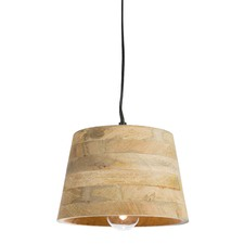 Mango Wood Pendant Antique Light with Raw Aluminium Canopy