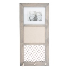 Wooden Wall Plaque Photo Frame with Memo Board And 3 Hanging Hooks