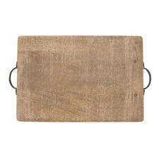 Rectangular Mango Wood Serving Board with Iron Handles