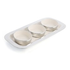 Aluinium & Enamel Condiment Bowl with Tray (Set of 3)