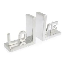 Aluminium Love Bookends (Set of 2)