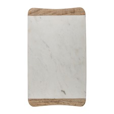 Mango Wood And Marble Rectangular Serving Board No Handle