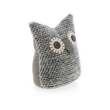 Grey Fabric Owl Door Stopper