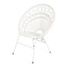 Bandung White Rattan Chair with Metal Legs