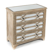 Wooden 3 Drawer Lattice Mirrored Cabinet