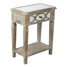 1 Drawer Wood Lattice  Mirrored Side Table