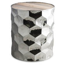 Round Aluminium Stool with Hexagonal Hammering