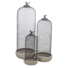 Cement Candle Holders with Mesh Covers (Set of 3)