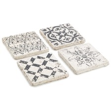 Assorted Pattern Square Ceramic Coasters (Set of 4)