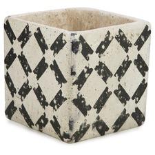 #3 Black & White Square Cement Planter Pot