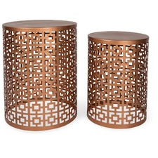 Set of 2 Round Copper Side Tables