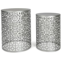 Set of 2 Round Silver Side Tables