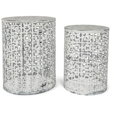 Set of 2 Claire Round White Wash & Antique Black Side Tables