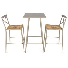 Set of 3 Round Taupe Bar Table & Rattan Chairs