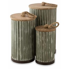 Metal Storage Boxes with Wooden Lids (Set of 3)
