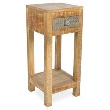 1 Drawer Pressed Metal & Mango Wood Tall Side Table