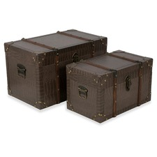 Faux Leather New York Storage Trunks (Set of 2)