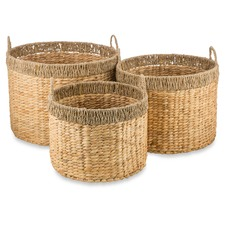 Water Hyacinth & Seagrass Baskets (Set of 3)