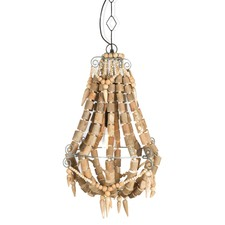 Iron & Wood Beaded Chandelier