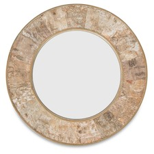 Round Birch Bark Wooden Mirror