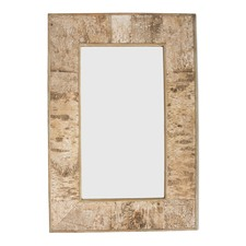 Rectangular Birch Bark Wooden Mirror