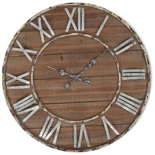Antique Style Iron & Wood Wall Clock