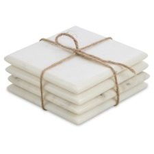 Square White Marble Coasters (Set of 4)