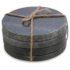 Round Charcoal Stone Coasters (Set of 4)
