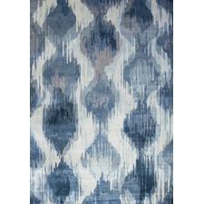 Blue Viscose Vintage Ikat Rug