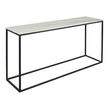 Natural Stone Console Table with Black Base