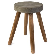 Zain Concrete & Solid Wood Stool