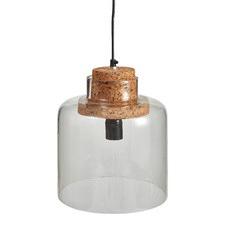 Clear Glass & Cork Modern Pendant Light