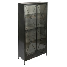 Industrial Glass & Metal Bookcase
