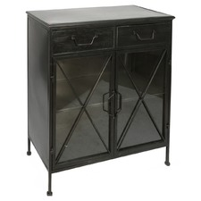Industrial Metal & Glass Sideboard