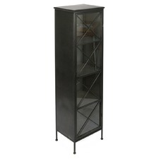 Industrial Tall Metal & Glass Bookcase