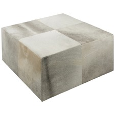 Grey Square Block Cowhide Coffee Table
