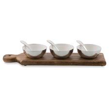 Set Of 3 Pinda Aluminium Condiment Bowls On Wooden Serving Board