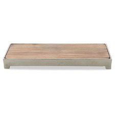 Pinda Wooden Rectangular Aluminium Rim Cheese Board