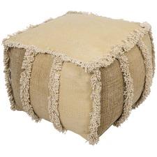 Kitson Square Hand Woven Stone Wash Cotton Ottoman