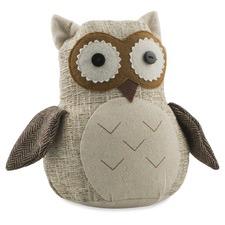 Beige Botan The Owl Polyester & Linen Door Stopper