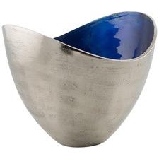 Large Aluminium & Enamel Deep Concave Bowl