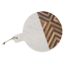 Chevron Detailed Round Wood And Marble Cheese Board