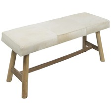 White Two Seater Cowhide Bench