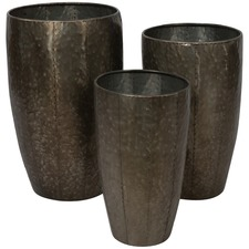 Assorted Set Of 3 Metal Planter Pots