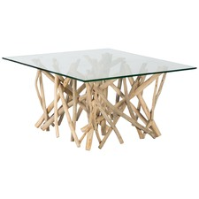 Natural Semarang Glass Top & Teak Branch Base Square Coffee Table