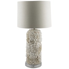 White Tall Shell Layered Lamp